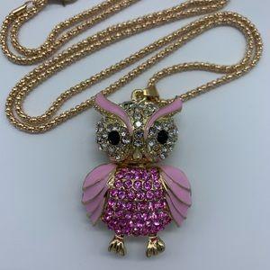 New pink enamel & rhinestone owl pendant necklace